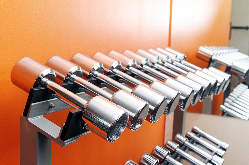 Dumbbells In Weight Rack For Fitness