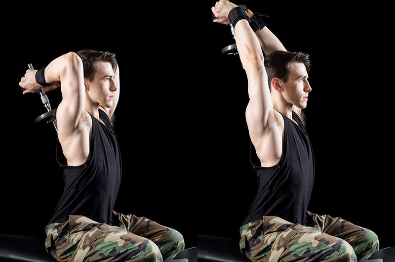 Man Working Out Seated Tricep Press Exercise