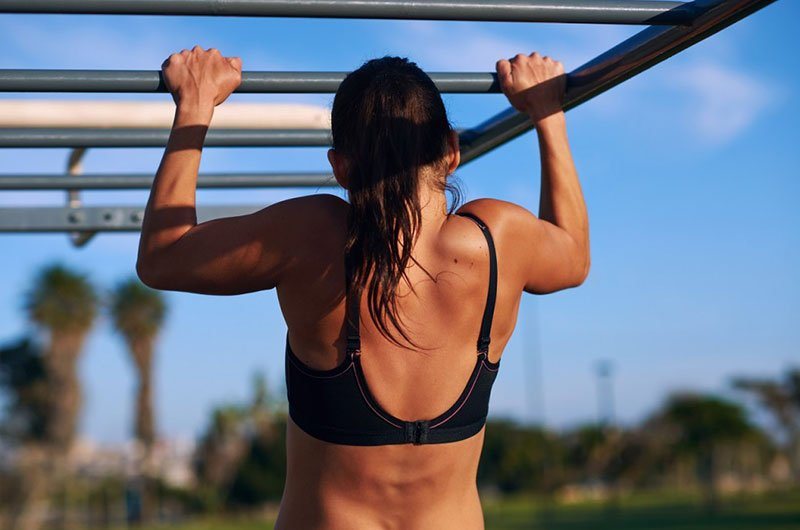 Woman Working Out Flexed Arm Hang